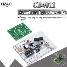 Lâmpada de poupança energia led luz incandescente cd4011 som e luz interruptor controle kit diy peças controle voz módulo