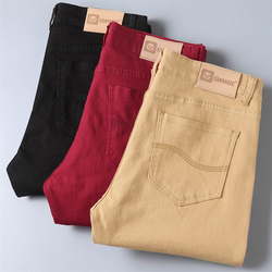 Classic Style Men's Wine Red Jeans Fashion Business Casual Straight Denim Stretch Trousers Male Brand Pants