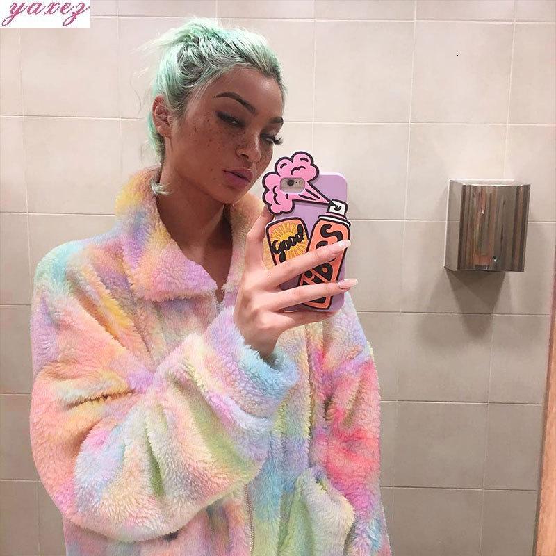 2019 Fashion Rainbow Color Women Faux Fur Coat Ladies Fluffy Coat & Jackets  Female Zipper Up Fleece Jacket Winter Thick Outwear