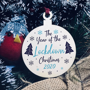 2020 Lockdown Wood Christmas Tree Ornaments Wooden Board Hanging Heart Shape Decoration Gift