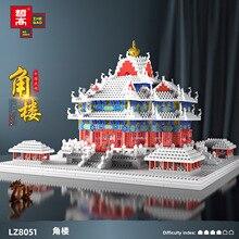 LEZI Lz8051 Small Particle Chinese Wind Turret Model Series Modular Building Blocks Bricks Children's Toy Gift Birthday Gift
