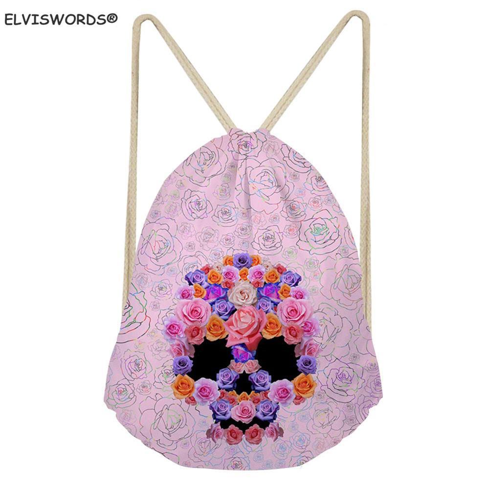 ELVISWORDS Drawstring Custom Logo Bags Kids Schoolbag For Boy Floral Sull Printed Bag Football Storage Sack Worek Plecak Sznurek