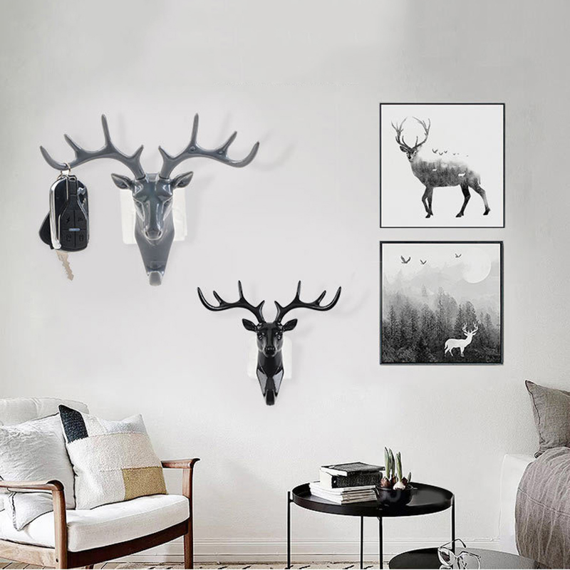Wall Hanger Deer Antler Style Hat Coat Bag Rack Hooks Holder Decor Self Adhesive DIY Rack Vintage Stag Head Hook Art Home Gift