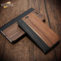 Kisscase bambu caixa de madeira natural para o iphone 11/11 pro max xr x xs max 6/6 s/7/8 mais 11 casos de couro do plutônio aleta bolsa s10 p30