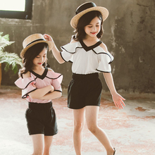 Chiffon Children Girls Shorts Suit 2020 Summer Clothing Girl Fashion Two Piece Set Fashion Blouses And Shorts Kids Clothes Set shein apricot appliques button top and shorts elegant girls clothing two piece set 2019 spring fashion vintage children clothes