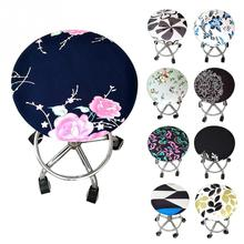 Round Chair Cover Bar Elastic Seat Stool Cover Four Seasons Floral Printed Soft Round Chair Slipcover # colorful famille rose ceramic round seat stool