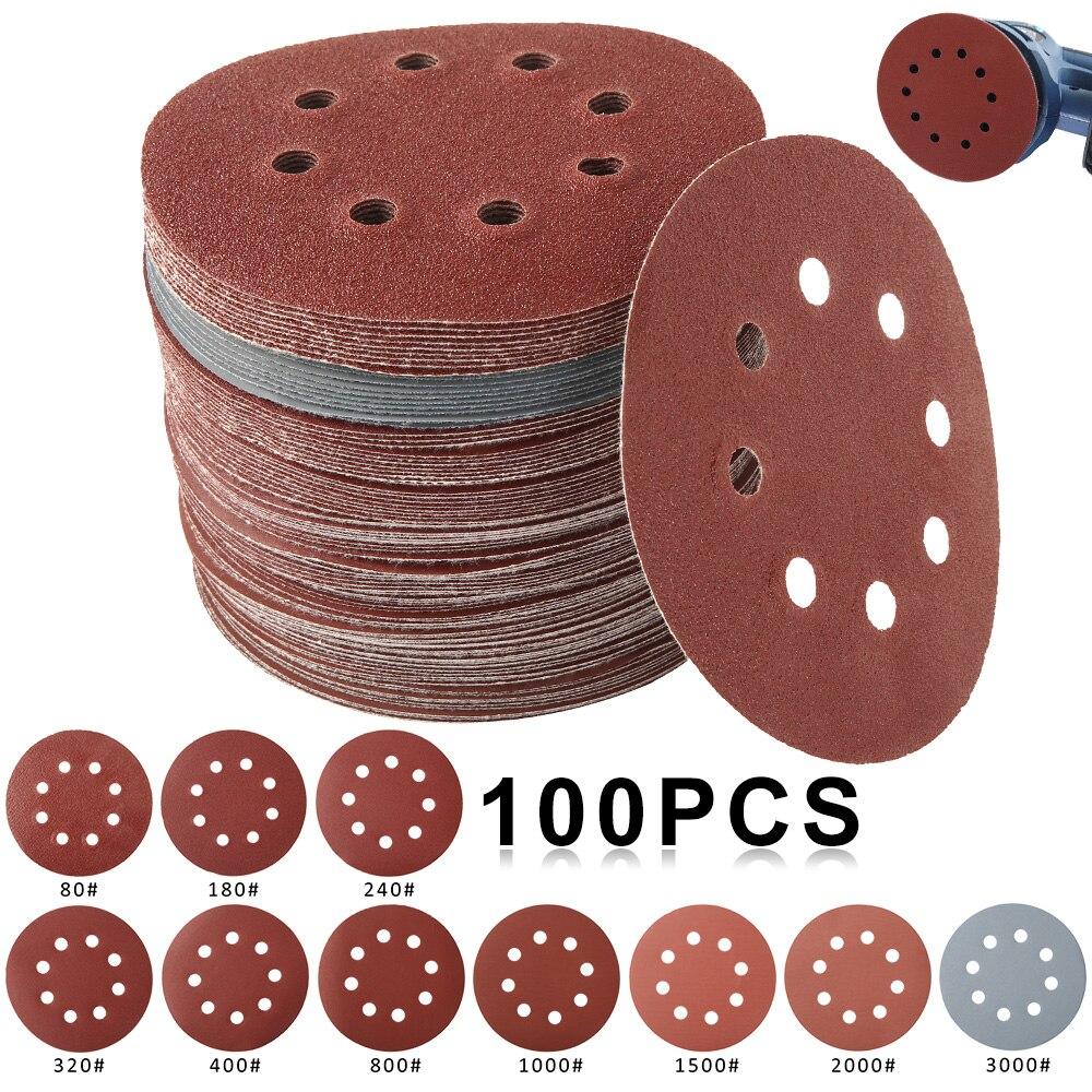 100 pièces 125mm papier de verre forme ronde disques de ponçage crochet boucle papier de ponçage feuille de polissage papier de verre 8 trous ponceuse tampon de polissage