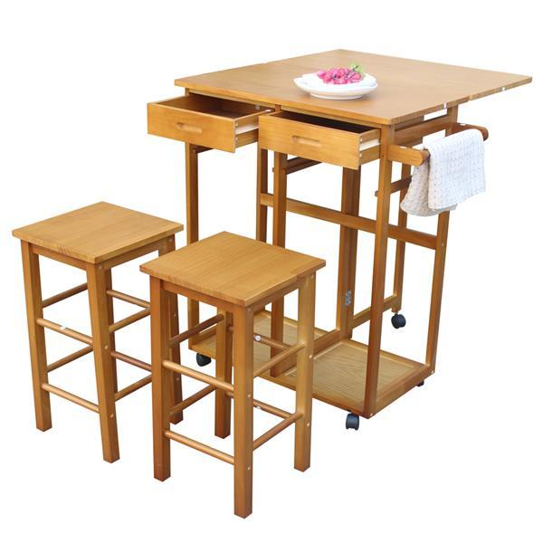Square Solid Wood Folding Dining Cart with 2 Stools  3