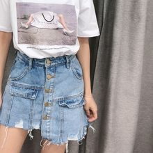 Women Harajuku Irregular Jeans Shorts Skirts Korean Buttons High Waist Kpop Denim Short Pants Casual Ripped Streetwear Shorts(China)