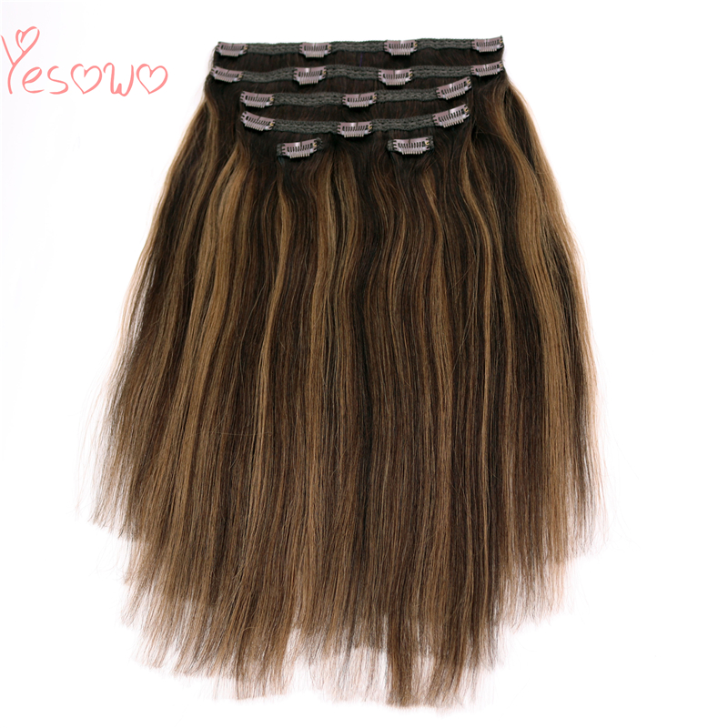 Yesowo 6Pcs/Set Full Head Dark Roots Piano Color Mixed Brown Color Malaysian Real Remi Human Clip Hair Extension Natural Hair