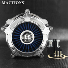 Chrome Motorcycle Air Filter Intake Cleaner Blue Element For Harley XL Sportster 2004-2019 Iron 883 1200 Nightster XL1200N