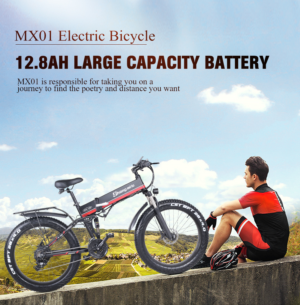 sheng milo electric bicycle fat tire 26 inch Motorcycle e bike 1000w 48v electric New pattern folding  Mountain  bicycle