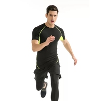 Short Sleeve T Shirt Men O Neck Quick Drying Casual Tight Tee Tops Fitness Apparel Sportear