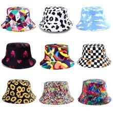Summer Cartoons Print Bucket Hat Men Women two side Fashion Hip Hop Outdoor Shade Fisherman Hat Bob Boys Girls Casual Panama