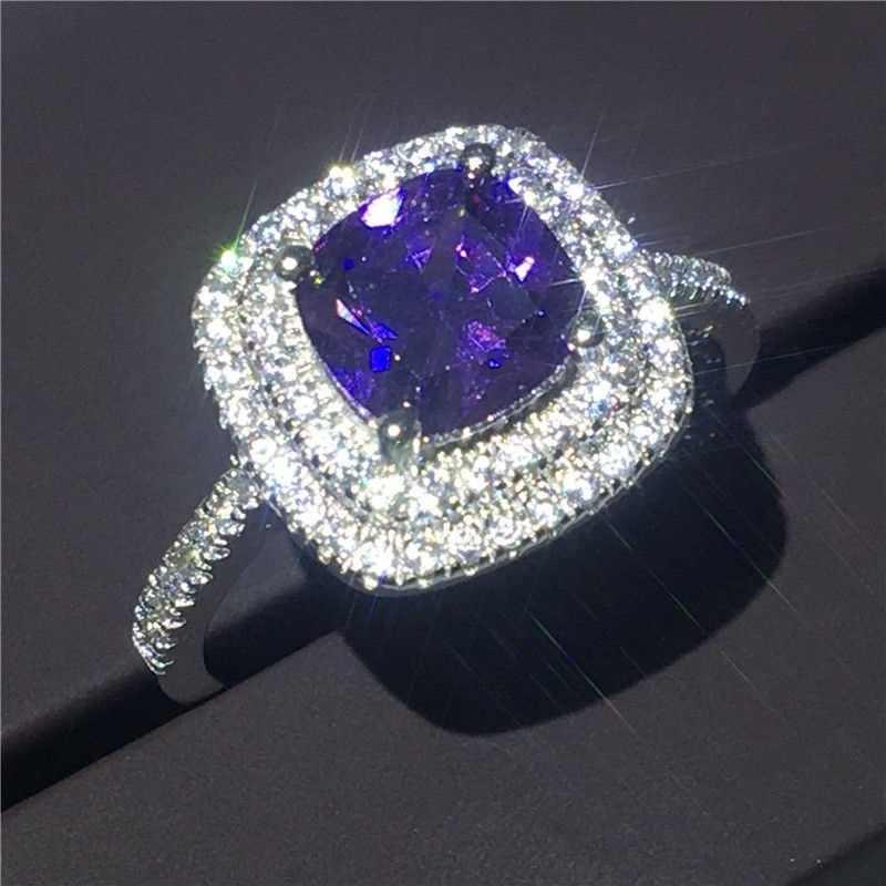 4 cores corte 8mm aaaaa zircon cz 925 anillos prata anel de casamento feminino noivado banda/rosa/roxo cor requintado bijoux 6-10