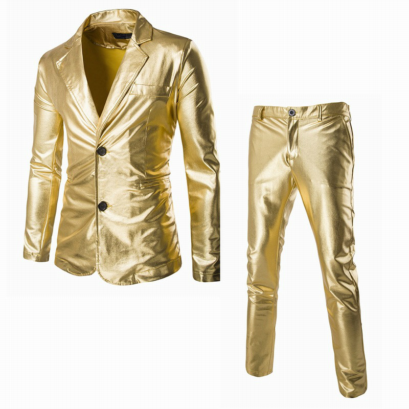 Fashion Gilded Bright Gold Shiny Casual Suit Set Slim Suit Blazer 2 Piece Set Reflective Fabric Two Piece Suit Male Plus Size