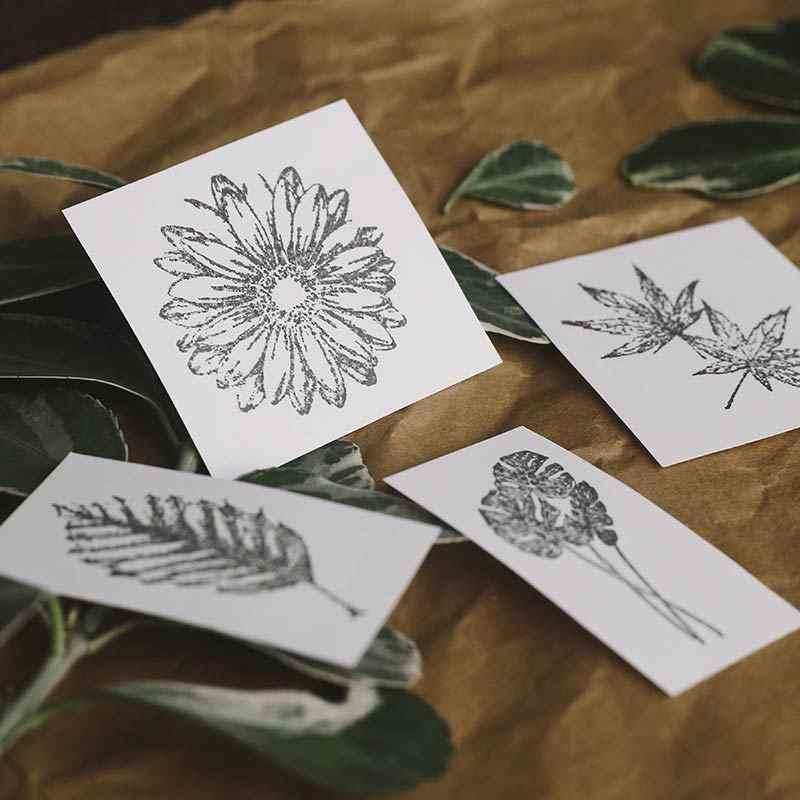 Vintage Alami Tanaman Jatuh Daun Dekorasi Perangko Retro Kayu Stempel untuk Scrapbooking Alat Tulis DIY Kerajinan Standar Stamp