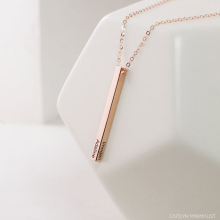 Four Sides Vertical Bar Necklace Engraving Personalized Square Bar Custom Name Necklaces Bridesmaid Gift Stainless Steel Jewelry