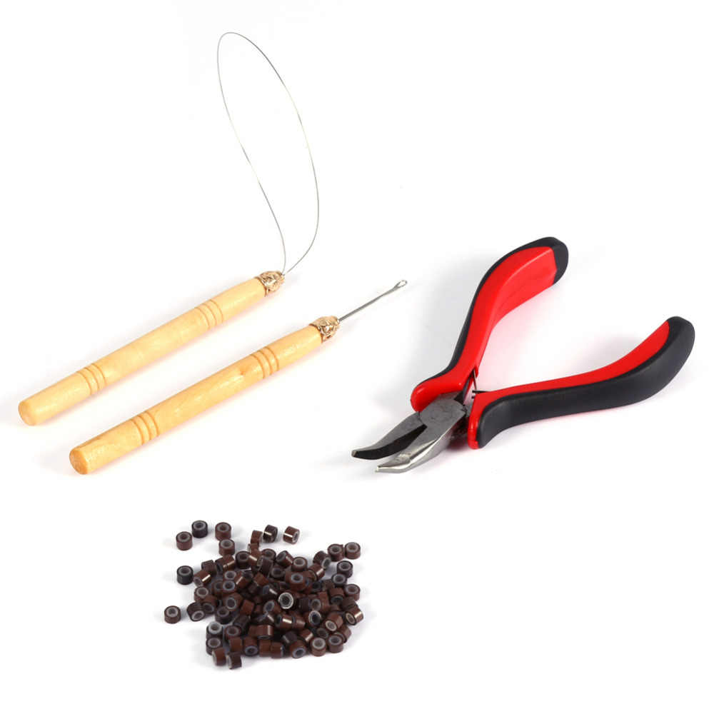 100Pcs Silicone Micro Links/Beads+1Pcs Pulling Needle+1Pcs Ring Needle +1Pcs Holes Plier Hair Extensions Tool Set Makeup kits