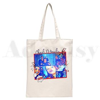 Ice Coffee Splatter Charli DAmelio Ulzzang Print Reusable Shopping Women Canvas Tote Bags Eco Shopper Shoulder Bags 10