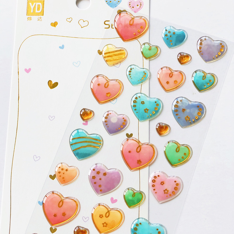 1 Sheet Beautiful Colorful Hearts Crystal Epoxy Decorative Stickers DIY Craft Diary Stick Label