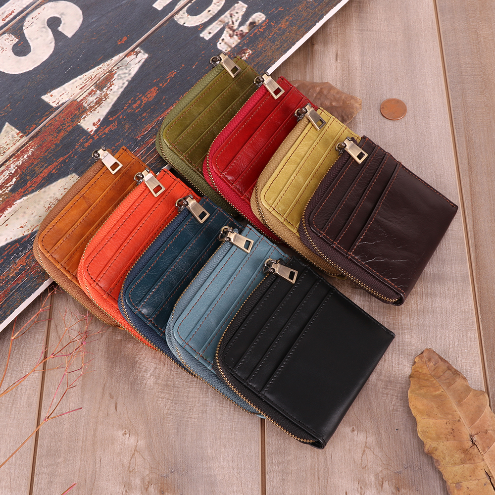JOGUJOS Small Genuine Leather Slim Wallets Mini Wallets Thin Rfid Card Holder Women Wallets Money Bag Male Fashion Short Purse title=