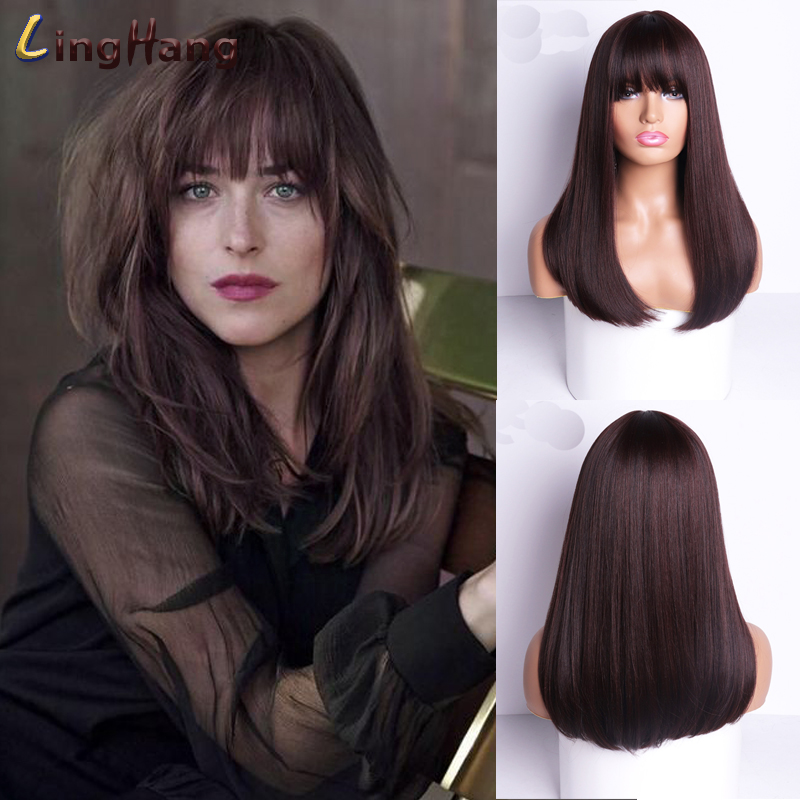 Ling Hang Long Straight Wigs with Bangs Black to Brown Ombre Synthetic Wigs for Black Women Daily Natural Cosplay Wigs