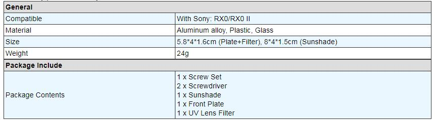 Color : Silver 37mm UV Filter Lens for Sony RX0 Aluminum Alloy Protective Cage Lens Sunshade with Screws and Screwdrivers Durable