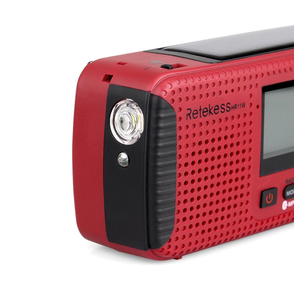 Retekess HR11W FM/AM NOAA погодное аварийное радио Ручной Солнечный радио Bluetooth MP3 плеер цифровой рекордер портативный F9208C - 2