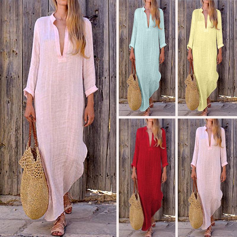 Women Gypsy Dresses Robe Long Sleeve V-neck Ethnic Boho Cotton Linen Summer Beach Maxi Dress 2