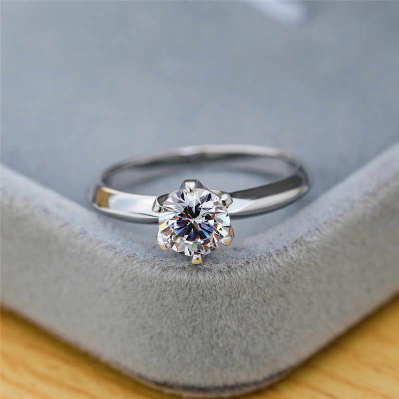 קלאסי גבירותיי 3CT יהלומי חתונת טבעת פשוט כלה אירוסין טבעות לנשים אופנה 925 סטרלינג כסף טבעת תכשיטי מתנה