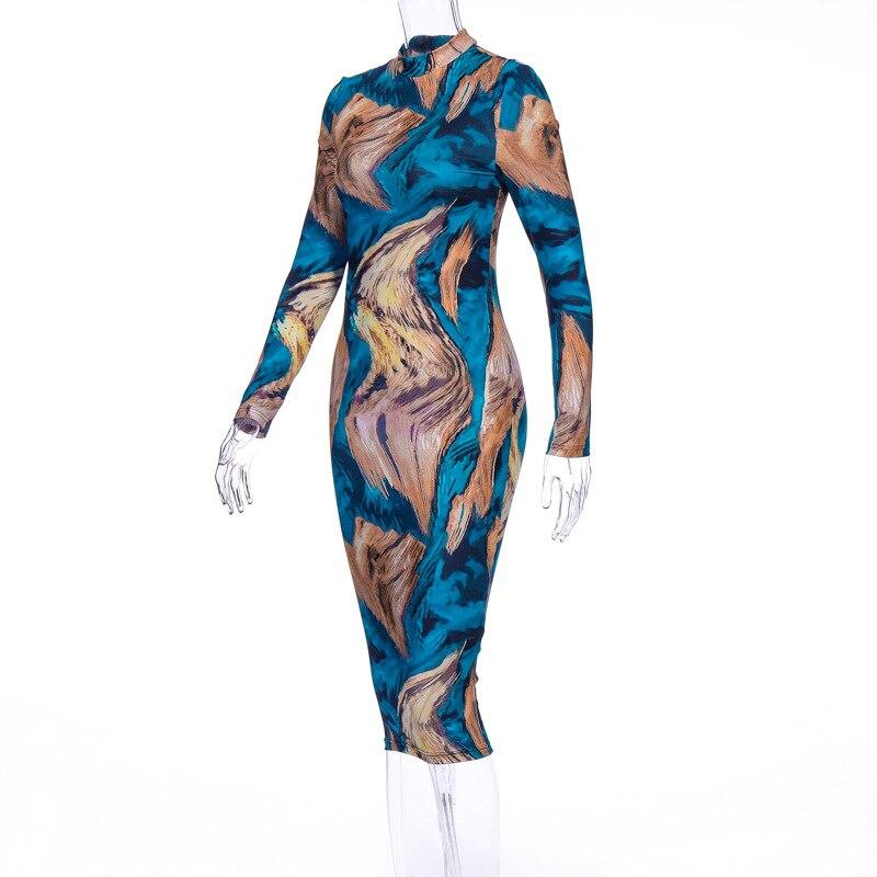 Γυναικείο ελαστίκο φόρεμα bodycon ύφασμα εκτύπωση σέξι με μακρύ μανίκι msow