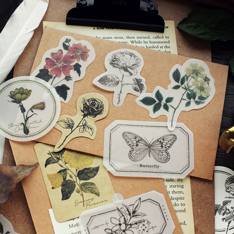 Mohamm 30PCS Flower Leaf Travel Series Vintage Plant Memo Pad Office Decoration Notepad Stationery