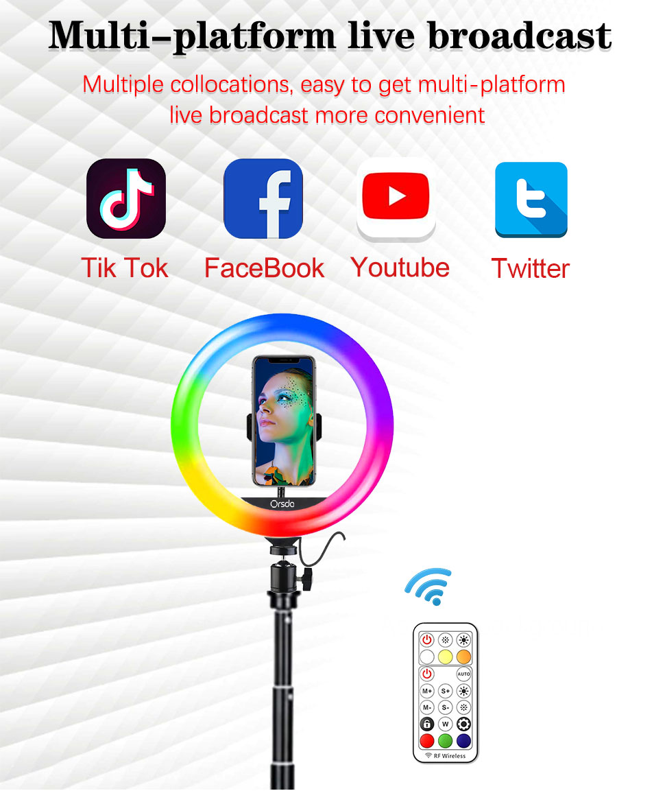 H54605389ee6343d59603cee7df710239d Orsda 10-13 Inch RGB Ring Light Tripod LED Ring Light Selfie Ring Light with Stand RGB 26 Colors Video Light For Youtube Tik Tok