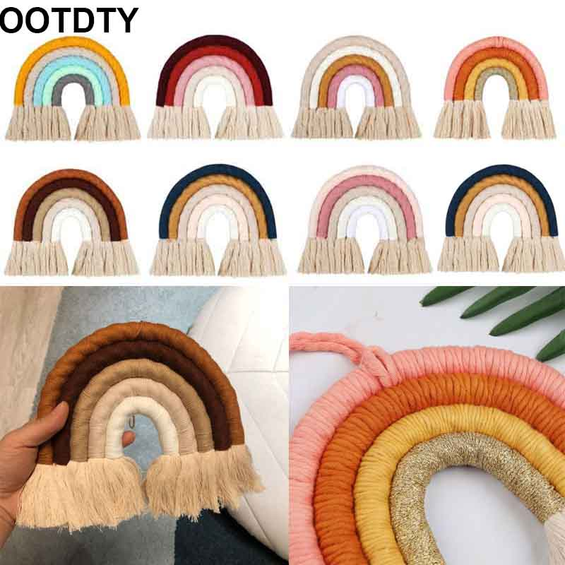 Macrame Rainbow Wall Hanging Decorative Colored For Boho Home Decor, Party Supplies, Baby Shower, Nursey Dorm Room