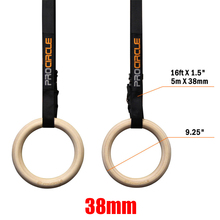 Procircle Wood Gymnastic Ring With Strap Olympic Strength Training Pull Up Gym Fitness High Strength Nylon Strap Wooden Ring