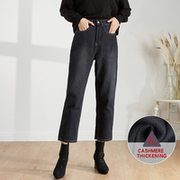 LEIJIJENAS new large size women's plus velvet warm loose high waist black nine points Harlan jeans casual ladies 6XL jeans 9239R