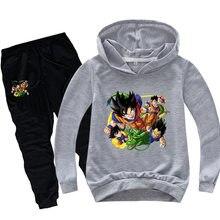 Spring Anime Dragon Z Hoodies Pants Suit Kids Clothing Sets Teenagers Boys Long Sleeve Sweatshirt + Pant 2pcs Sportswear Girl