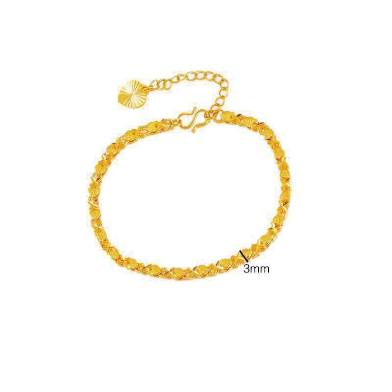 MxGxFam (16 センチメートル + 4 センチメートル) ラブリーハートブレスレットの宝石デザイン 24 18k 純金色アレルギーフリー