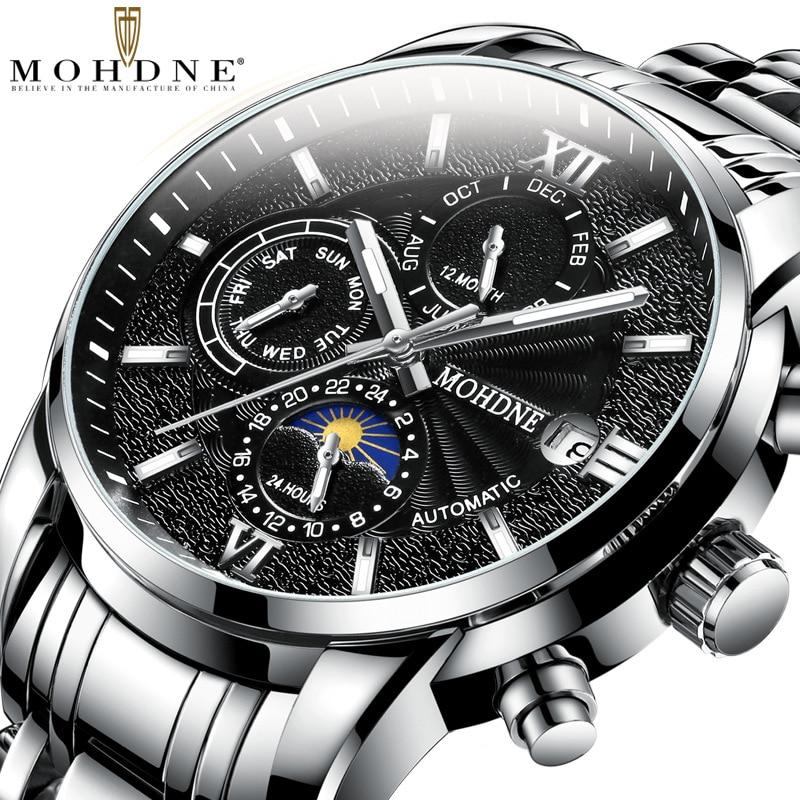 Watch Men's Automatic Mechanical Watch Fashion-Multi-Function-Style Leather Waterproof New Men's Watch