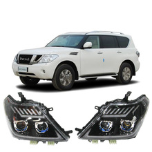 цена на Car Styling For Nissan Patrol headlights For Patrol head lamp led DRL front light Lens Double Beam HID KIT Headlight Assembly