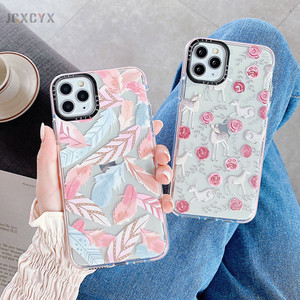 Fashion Brand Feather Sika Deer Rose Transparent soft phone case for iphone 11 pro Max X XS XR 6 s 7 8 plus SE 2020 cute cover