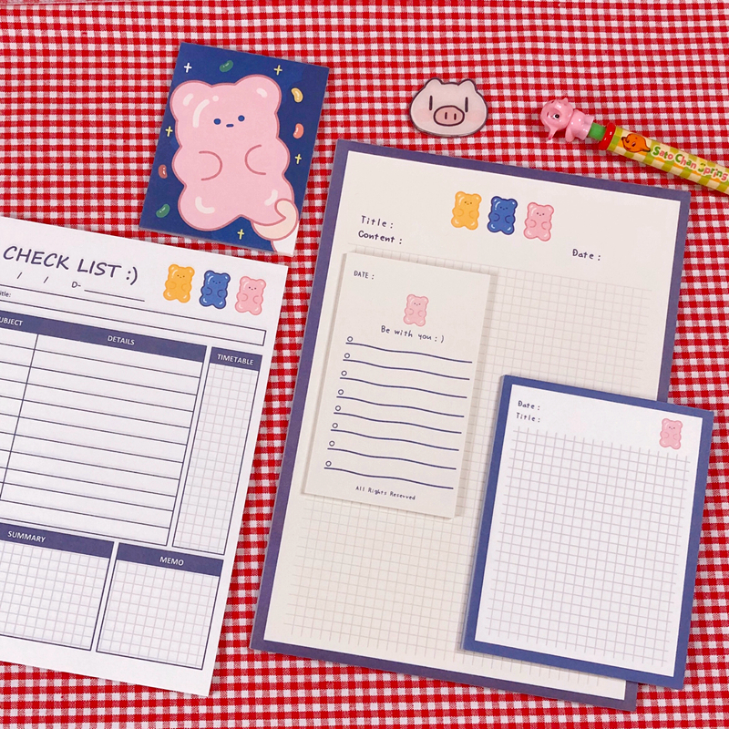 30Sheets/Lot Kawaii Korean INS B5 To Do List Planner Memo Pad N Times Sticky Notes Portable Notepad School Office Supply