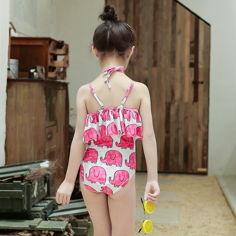 South Korea New Style Cartoon Cute Girls One-piece Triangle Bathing Suit