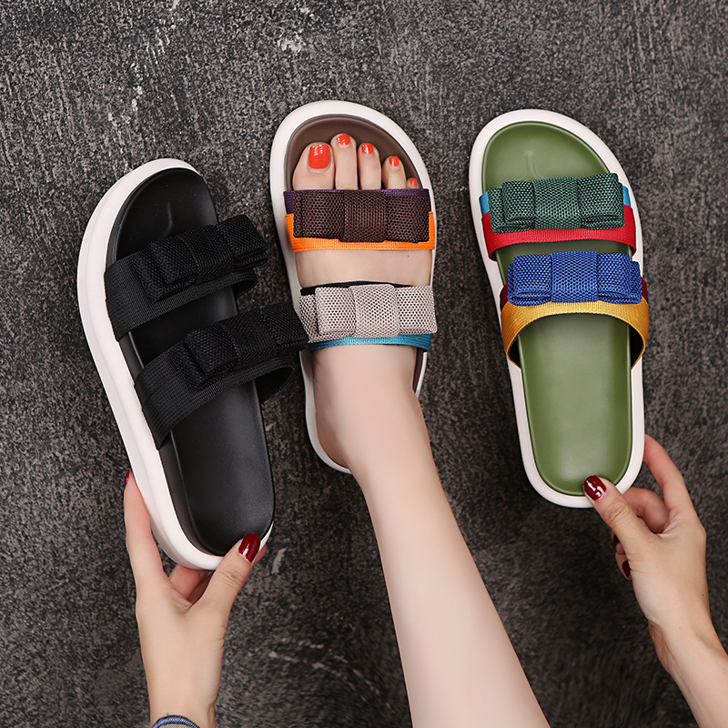 2019 New WomenS Summer Pumps Genuine Leather Shoes Woman Open Toe Ladies Slippers Flat Joker ins Sandals Yasialiya in Slippers from Shoes