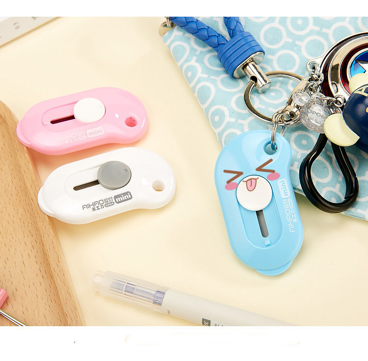 1pc Mini Cute Small  Candy Color Paper Wallpaper Photo Letter Box Cutter Art Utility Knife Office Supplies Tools