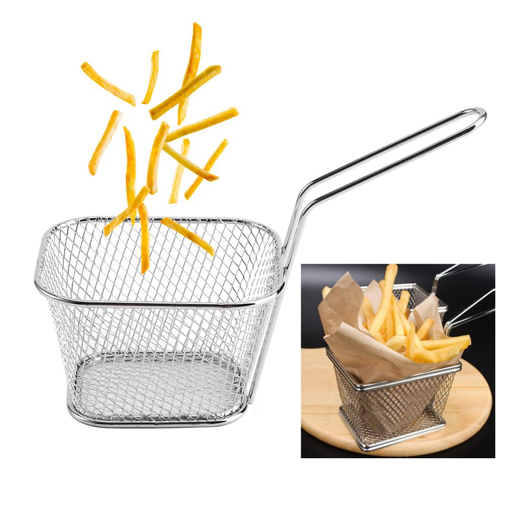New 8Pcs/Pack  Mini Chips Deep Fry Strainer Baskets Stainless Steel  Food Presentation Potato Cooking Tool French Fries Basket