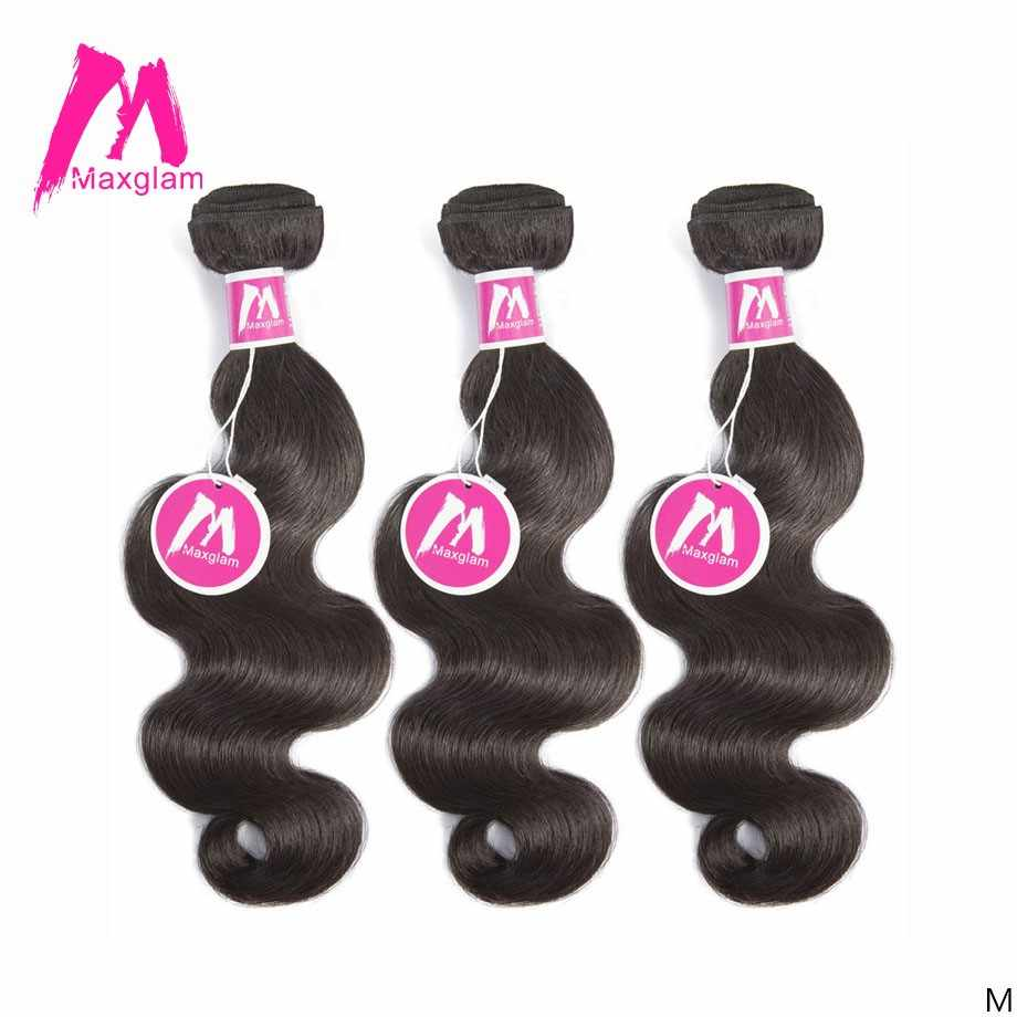 Maxglam Brazilian Human Hair Weave Bundles Body Wave Natural Color Short Long Remy Hair Extension For Black Women 3 Bundles