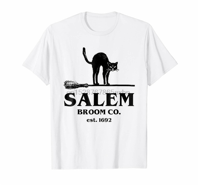 Salem Broom Co Est 1692 Halloween Black Cat And Broom Unisex White T-Shirt S-6Xl Birthday Gift Tee Shirt