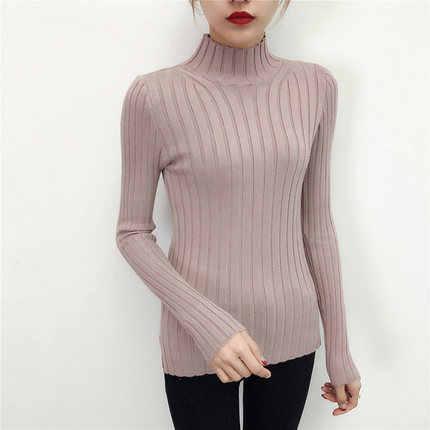 2019 白のタートルネックのセーターと半小さな新鮮な女性ショート厚いスリムタイトな長袖すべて一致ニットシャツ